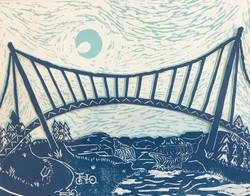 Liberty Bridge Linocut
