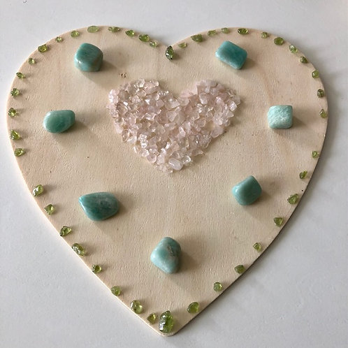 Gorgeous Amazonite, Peridot and Rose Quartz Heart Grid