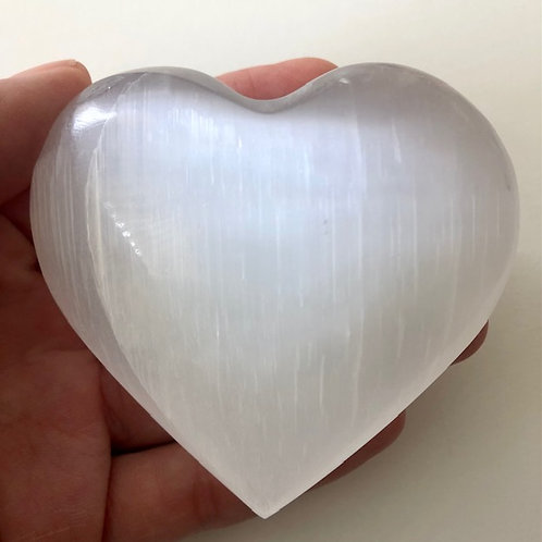 Selenite Puffy Large Heart