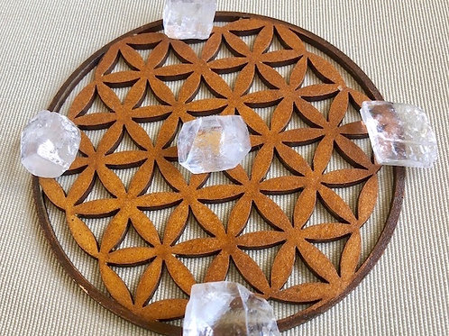 Flower of Life Wooden Mandala with Apophyllite & Calcite
