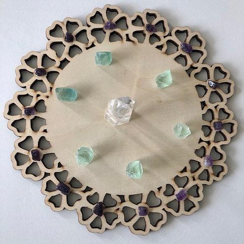 Healing Crystal Grid with Wooden Mandala