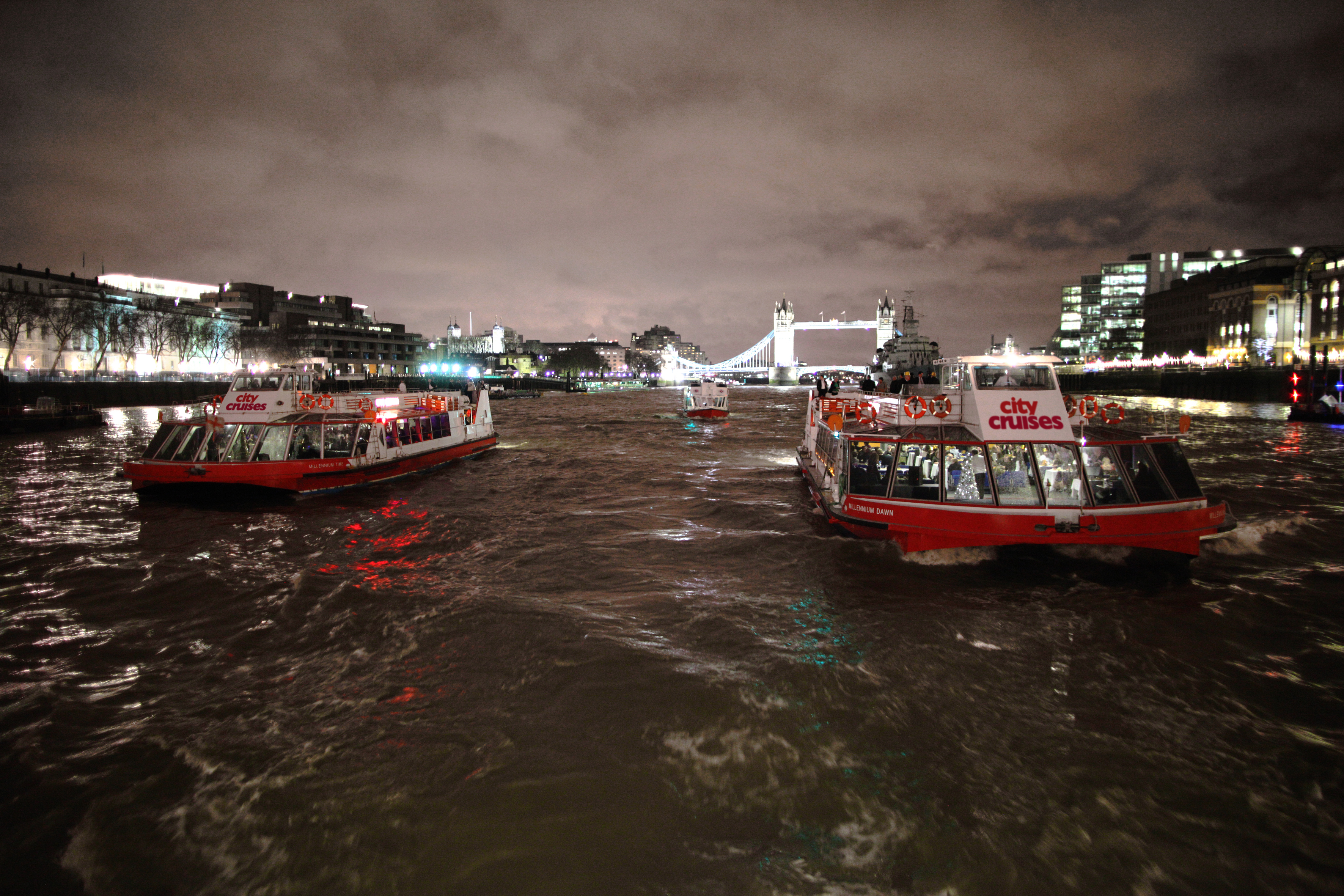 City Cruises fleet at night