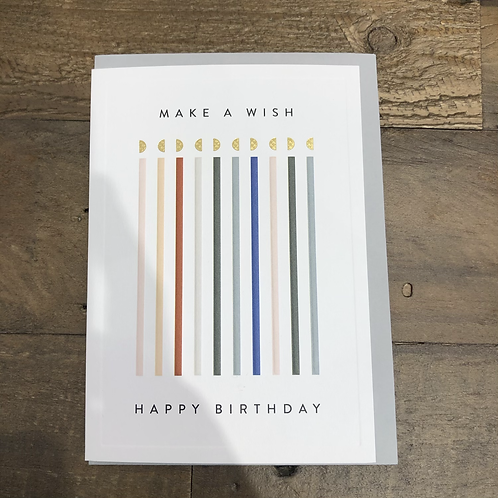 Make a wish, Happy Birthday. Candles. Card