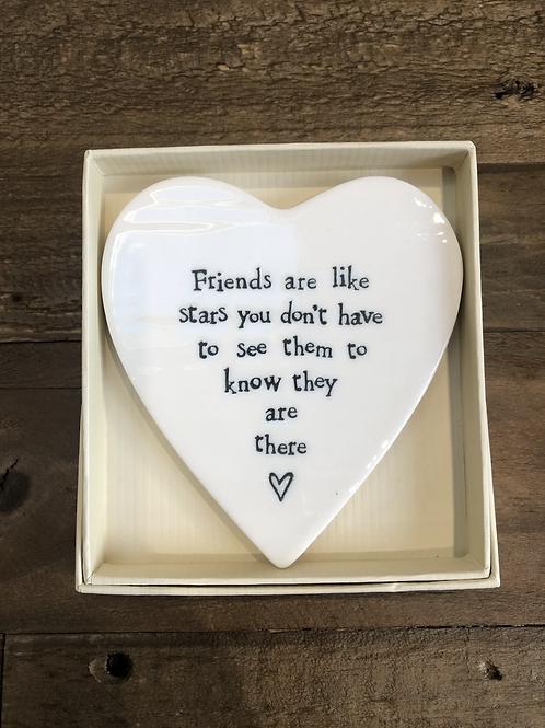 Friends are like Stars - Porcelain Heart Coaster