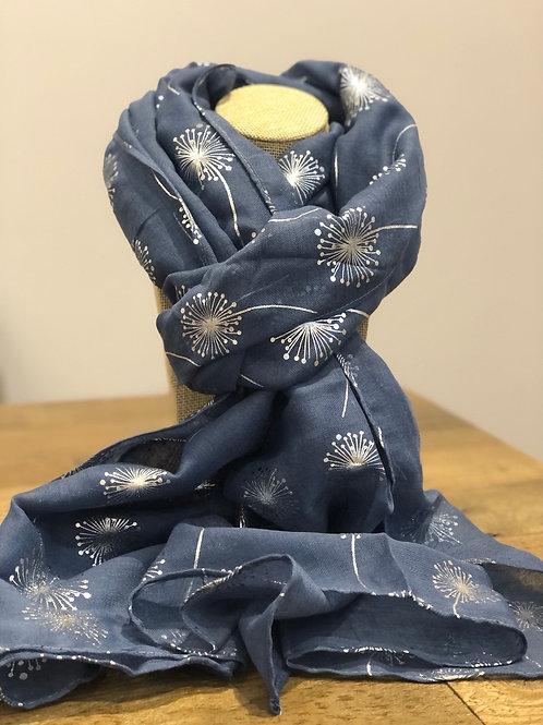 Silver Dandelion Print, Blue Scarf