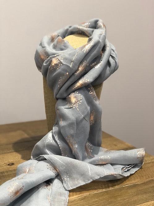 Rose Gold Dandelion, Grey Scarf