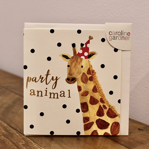 Party Animal, Giraffe, Birthday Card