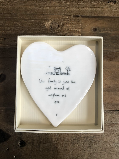 Our family is just the right amount... - Porcelain Heart Coaster