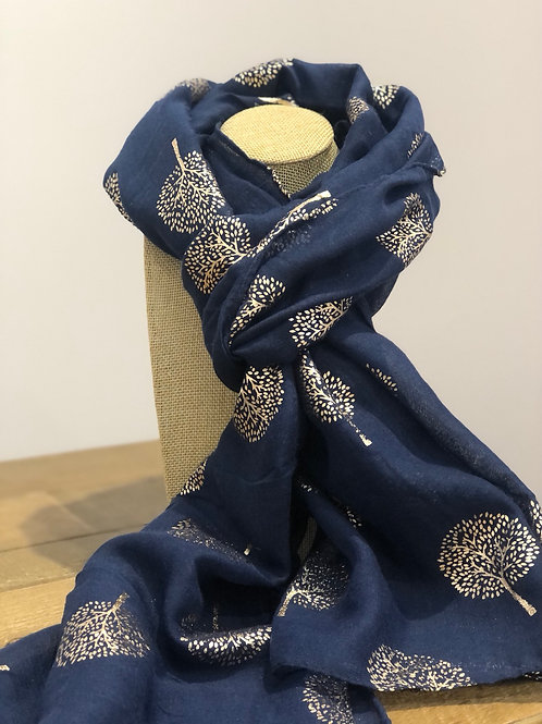 Rose Gold Tree Print, Navy Scarf