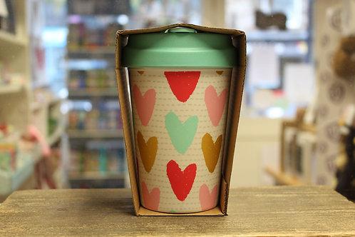 Happy Hearts, Bamboo Travel Mug