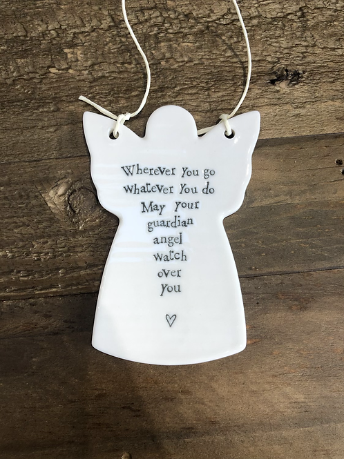 """...may your guardian angel watch over you"" Porcelain Hanging Angel"