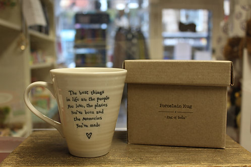 """""""The best things in life..."""" Porcelain Mug"""
