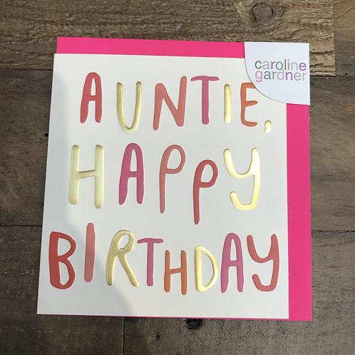 Auntie, Happy Birthday Card.