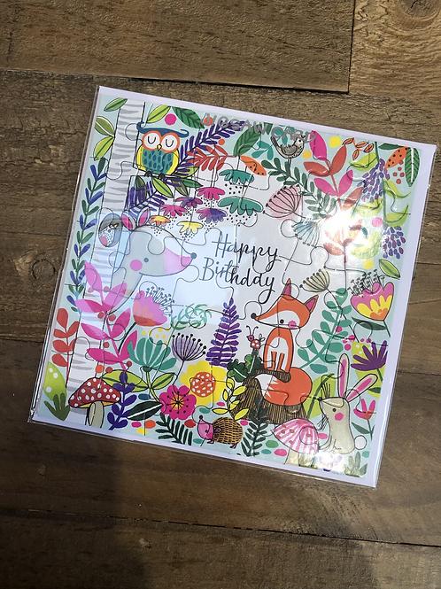 Woodland, Happy Birthday Jigsaw Card