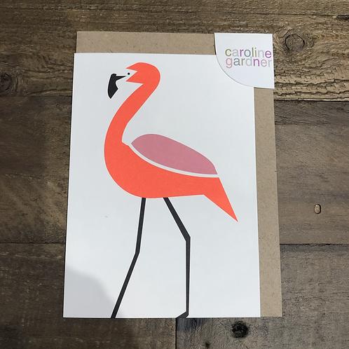 Flamingo, Neon Blank Card