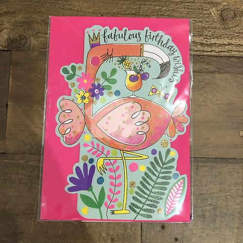 Fabulous Birthday Wishes, Flamingo Card