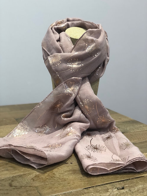Rose Gold Dandelion Print, Blush Pink Scarf