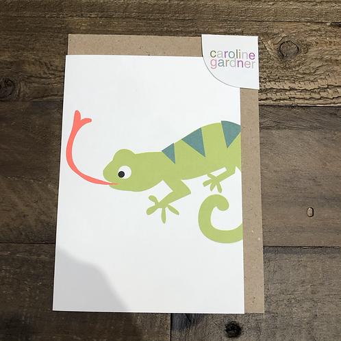 Lizard, Neon Blank Card.