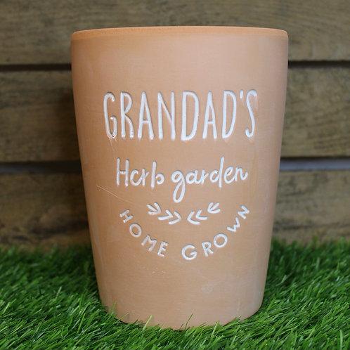 Grandads herb garden plant pot