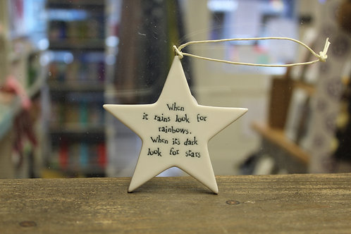 """When it rains look rainbows..."" Porcelain Hanging Star"