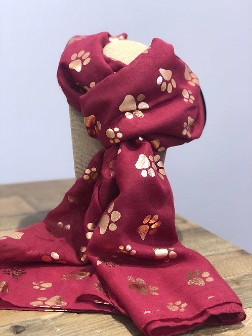 Rose Gold Paw Prints, Burgundy Scarf
