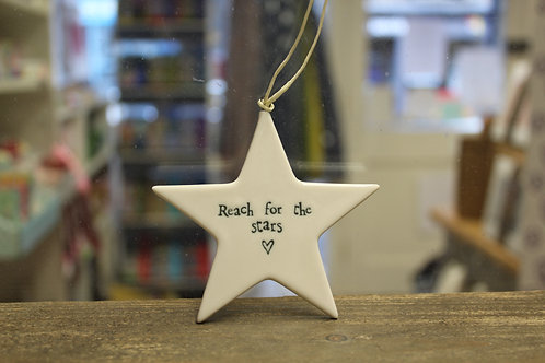 """Reach for the stars"" Porcelain Hanging Star"