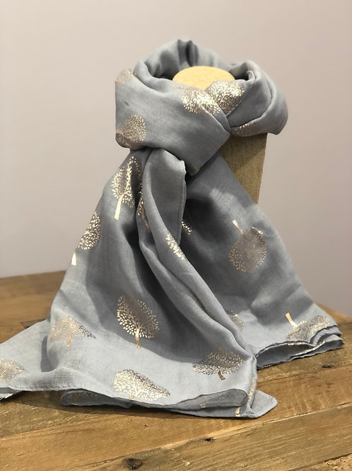 Rose Gold Tree Print, Grey Scarf