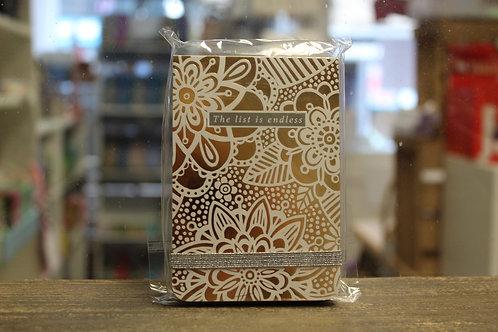 Gold Metallic Floral - A7 Notepad