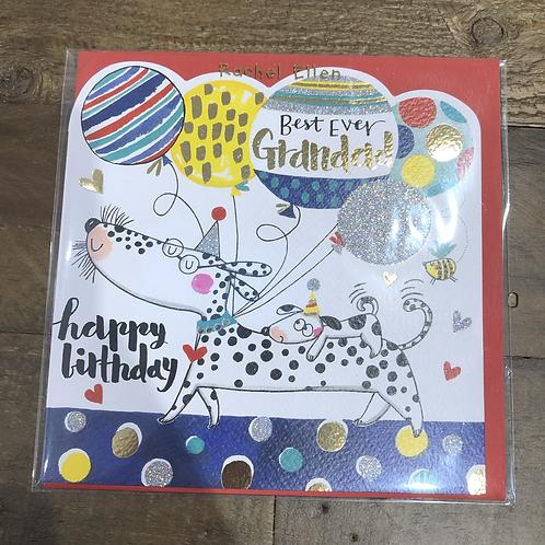 Best ever Grandad, Happy Birthday. Dog & Balloons Card