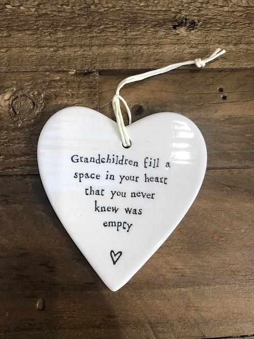 Grandchildren fill a space in your heart - Porcelain Heart