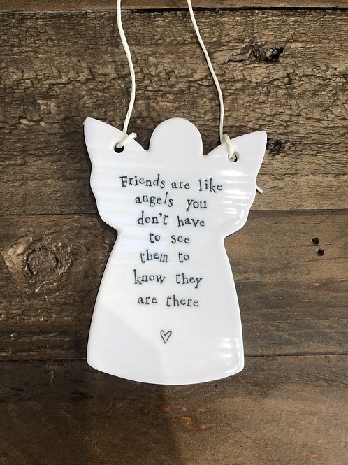 Friends are like angels - Porcelain Hanging Angel