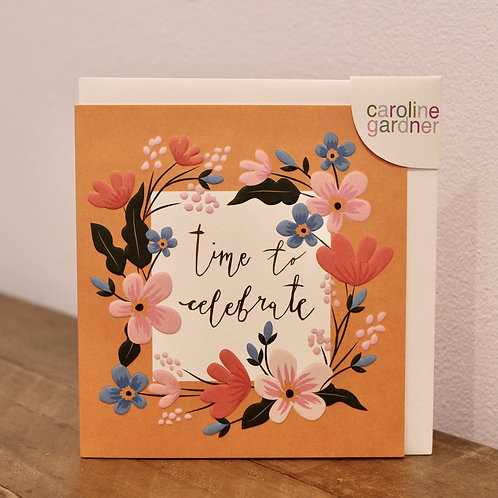 time to celebrate, floral... Birthday Card