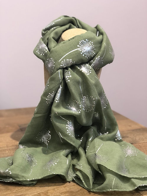 Silver Dandelion Print, Green Scarf