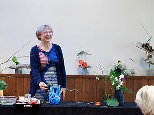 Ilse Giving an Ikebana Workshop in FInland