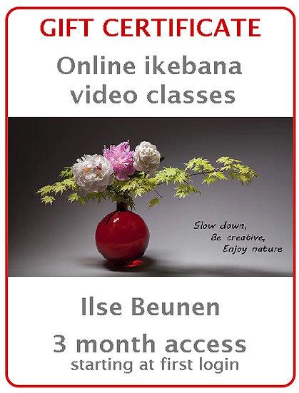 Three Months Gift certificate - Online IKEBANA Video Classes