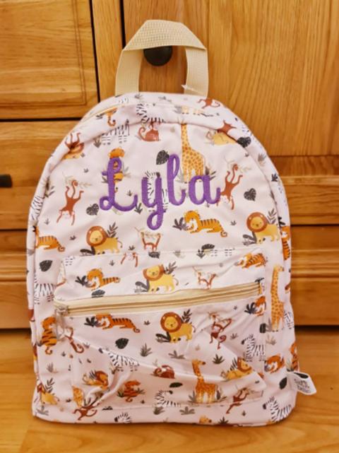 Personalised Children's Savannah Safari Backpack, Embroidered Name