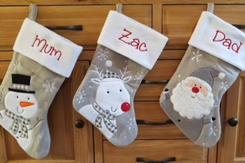 Silver Christmas Stocking (Reindeer, Snowman, Santa, Penguin)