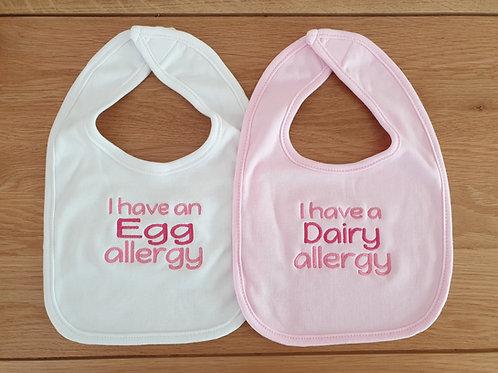 3 x Personalised Allergy Baby Bibs