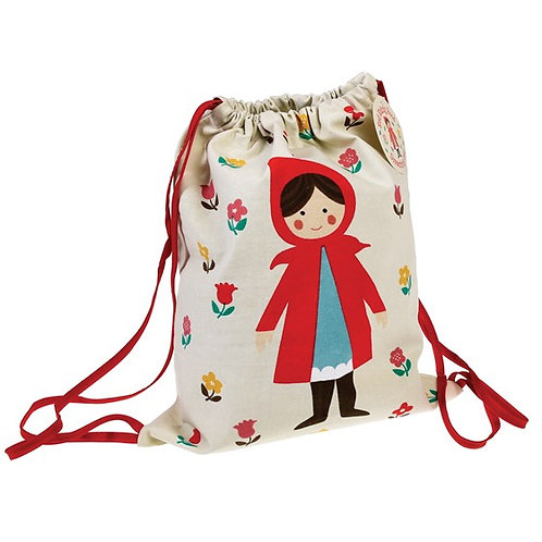 Personalised Children's Red Riding Hood Drawstring Bag, Free Embroidered