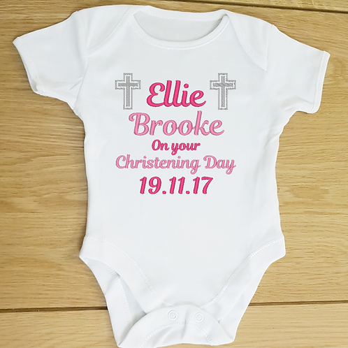 Personalised Christening Day Baby Vest, Embroidered Text and Design Bod