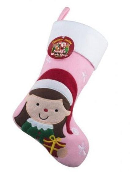 Christmas Elf Stocking (Girl/Boy Elf) Pink Or Green