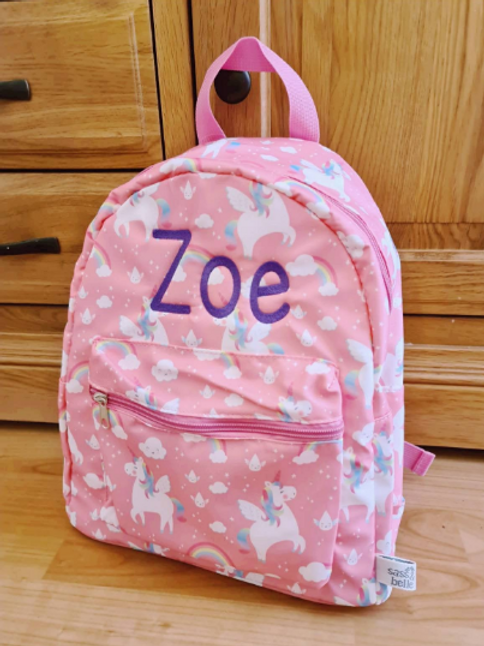 Personalised Children's Rainbow Unicorn Backpack, Embroidered Name