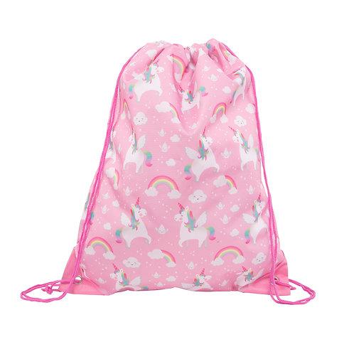 Personalised Children's Rainbow Unicorn Drawstring Bag, Free Embroidered Name