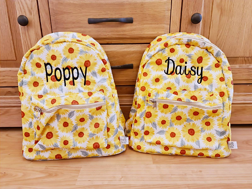 Personalised Vintage Children's Sunflower Backpack, Embroidered Name
