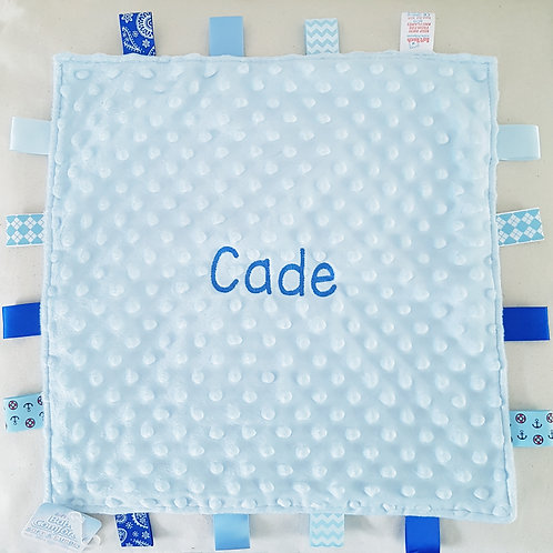 Personalised Blue Taggie Baby Comforter