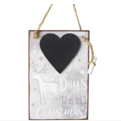 Days Until Christmas Heart Countdown Chalkboard