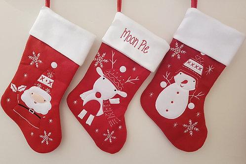 Red Nordic Christmas Stocking (Reindeer, Snowman, Santa)