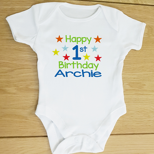 Personalised 1st Birthday Baby Vest, Embroidered Text and Design Body
