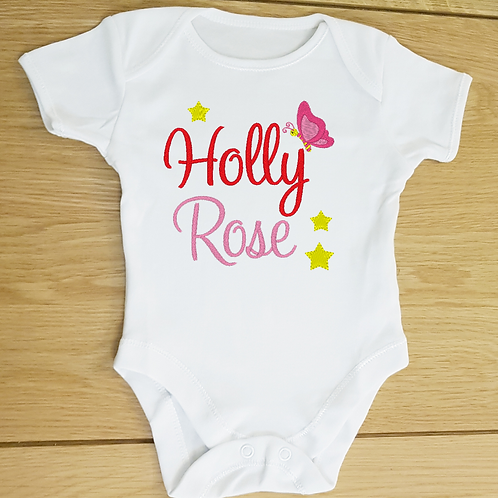 Personalised Name Baby Vest, Embroidered Text and Design Bod