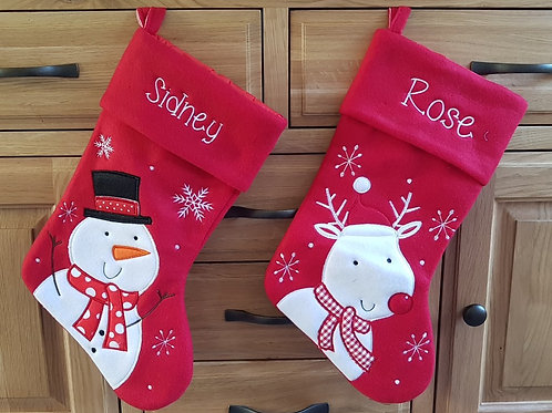 Red Christmas Stocking (Reindeer, Snowman, Santa)